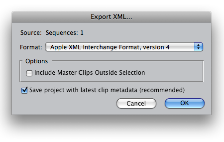 export xml from final cut pro options