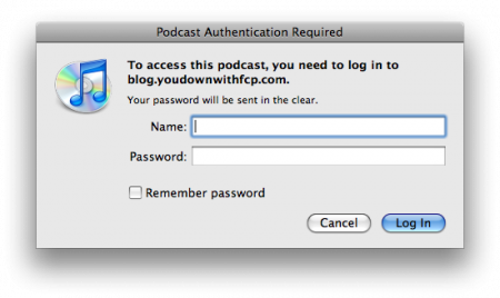 secure podcast login window