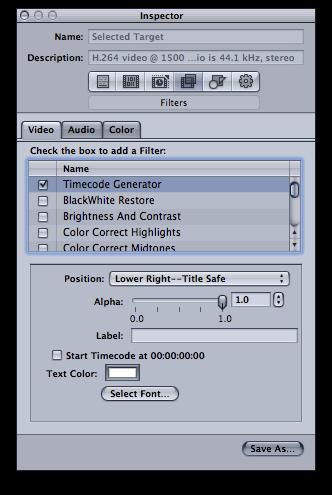 time code generator filter in compressor